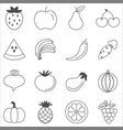 fruits and vegetables sketch vector image