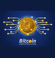 golden bitcoin in shining light effect on blue vector image