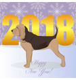 happy new year card with bloodhound vector image vector image