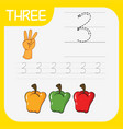 how to write number three worksheet vector image vector image