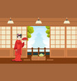 japanese girl in red kimono dress standing on the vector image vector image
