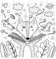 Magic in books coloring page with cute wolf
