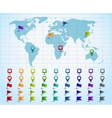Map pointers on world map vector image vector image