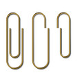 metal gold paperclips isolated and attached vector image vector image
