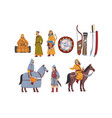 mongol nomad warriors in traditional clothing vector image vector image