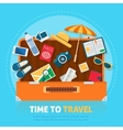 Open baggage with travel icons and objects vector image vector image