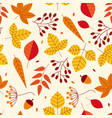 seamless pattern with acorns and autumn leaves vector image vector image