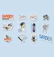 set barbershop logo tools for man icon vector image vector image