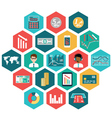 set flat design icons with financial infographic vector image vector image