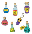 Set of cute hand drawn bottles with poison for