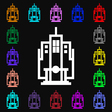 skyscraper icon sign Lots of colorful symbols for vector image