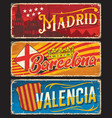 spain valencia madrid barcelona plates tin sign vector image vector image