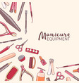 square background with manicure equipment hand vector image