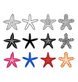 starfish icon set vector image vector image