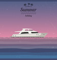 sunset at sea with a yacht vector image vector image