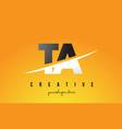 ta t a letter modern logo design with yellow vector image vector image