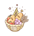 The fruits on the basket vector image