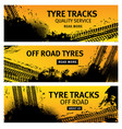 tyre tracks off road tire prints grunge banners vector image vector image