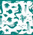 underwater world seamless pattern mermaid and vector image