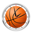 wall clock basketball style on white background vector image vector image