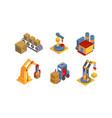 warehouse elements set intelligent manufacturing vector image