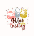 wine tasting icon label with hand drawn vector image