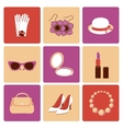 Woman accessories flat icon set vector image vector image
