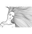 woman with long hair biting lip vector image vector image