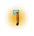 Wooden axe icon comics style vector image vector image