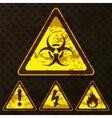 Set of grunge warning signs vector image