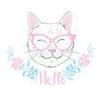 cute cat sketch print design cat children print vector image