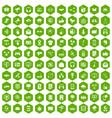 100 communication icons hexagon green vector image