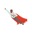 afro-american man with superhero cloak flying vector image vector image