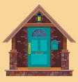 aquamarine front door on brown brick wall vector image vector image