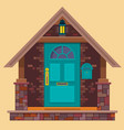 aquamarine front door on the brown brick wall with vector image