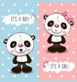 baby shower greeting card with pandas vector image