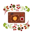 Barbeque Steak on Plate vector image