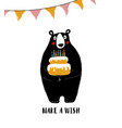 bear holding big birthday cake vector image