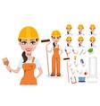 beautiful female builder in uniform vector image