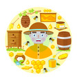 beekeeper and objects of beekeeping vector image
