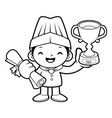 black and white happy cook mascot first prize in vector image vector image