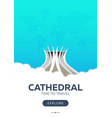 brazil cathedral time to travel travel poster vector image
