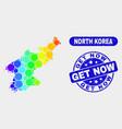 bright mosaic north korea map and distress get now vector image vector image