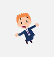 businessman jumping terrified vector image