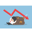 Businessman sleeping with bear with down trend gra vector image vector image