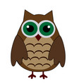 cartoon cute brown owl on a white background vector image