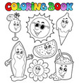 coloring book with summer pictures vector image vector image