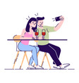 couple making selfie on date flat young man and vector image