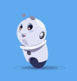 cute robot isolated on blue background modern vector image vector image