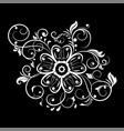 decorative flower with filigree branches white vector image vector image